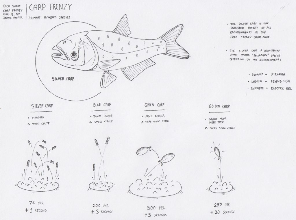 The pitch for a game mode called 'Carp Frenzy', where mutated carp fish would be jumping around in the water and the player had to hit as many as possible.