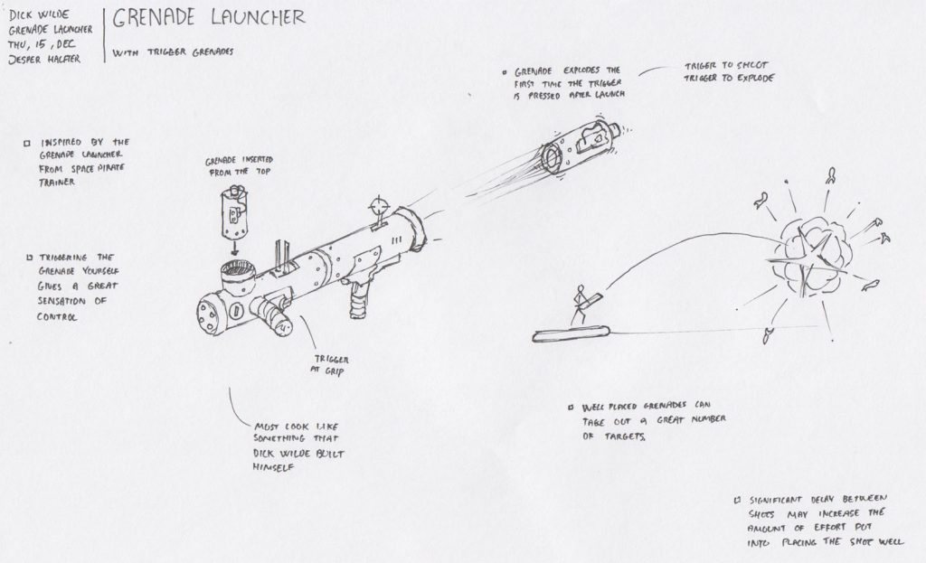 Early concept of the grenade launcher.