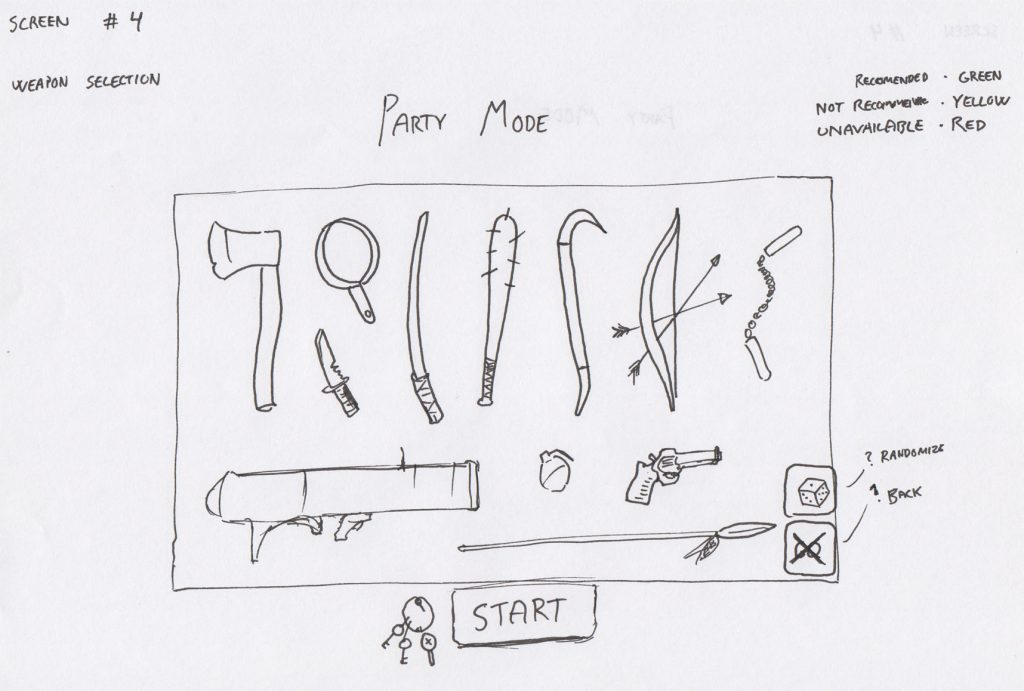 A very early draft of the selection of weapons.