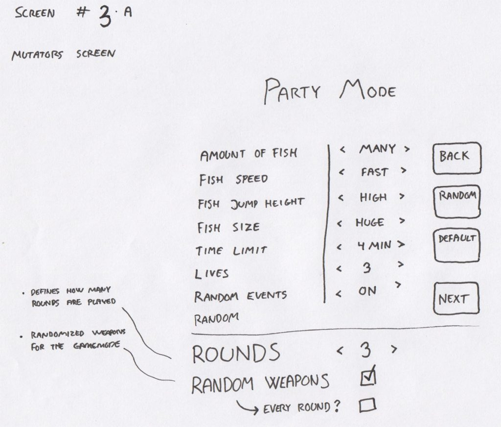 A draft for a party mode mutator screen with functionality similar to that of Rocket League.