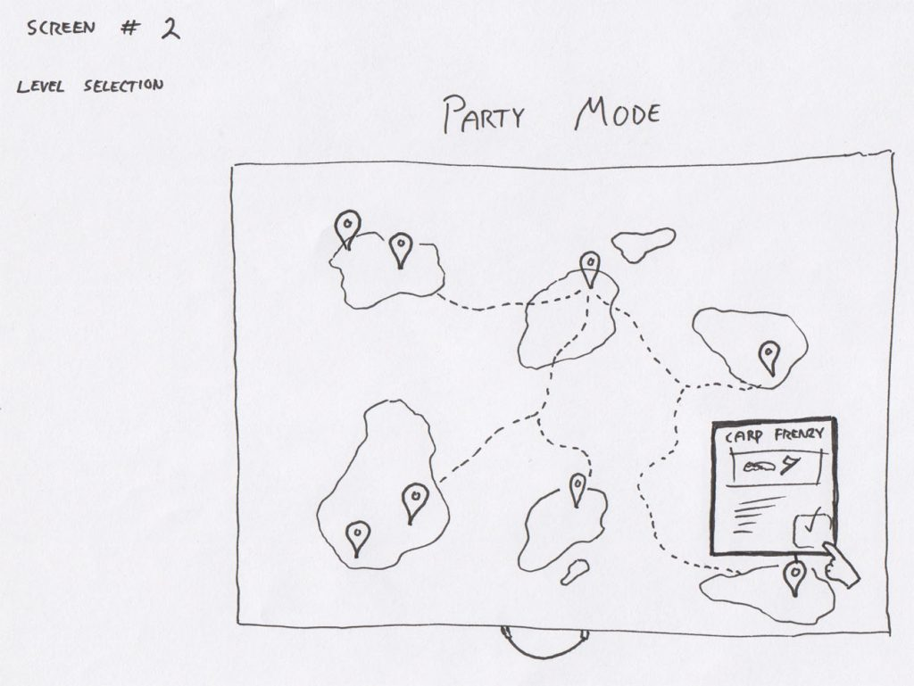 Early draft of the game laid out on a map on which the player would travel around to the different locations.