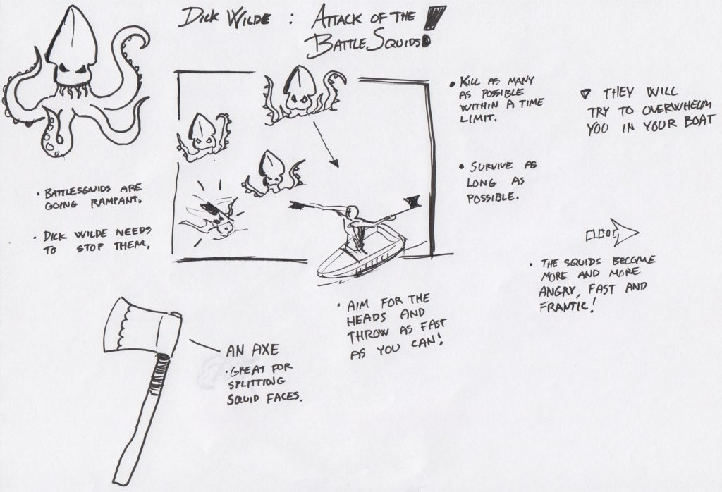 One of the first sketches of the 'Killerfish Attack' game mode. At that point the idea was that giant killer squids would mass towards the player while the player had to use axes to split their heads.