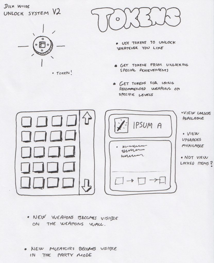 Sketch of a coin system we intended to have in the game at an early stage.