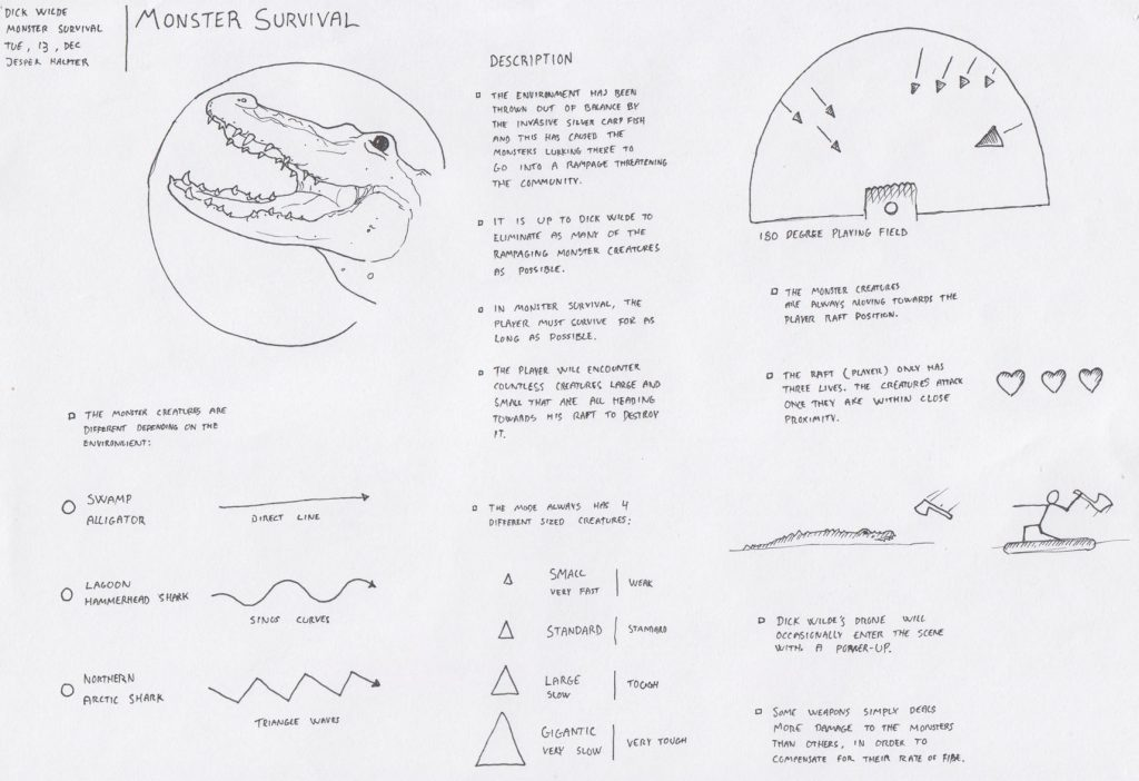 Early enemy concept of the mutant alligators. The sketch shows different movement patterns that didn't make it to the final version.