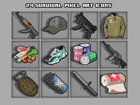 Pixel Art Survival Game Icons
